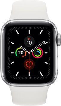 Wie%20neu: Apple Watch Series 5 | 40 mm | Aluminium | GPS | silber | Sportarmband weiß